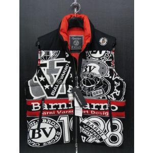 バーニーバーノ ダウンベスト 黒/白/赤 BAW-BDV652-09 BARNI VARNO Lサイズ|wanwan