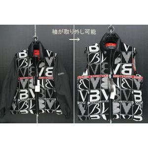 バーニーバーノ 袖付きダウンベスト 黒/白 BAW-BDV654-09 BARNI VARNO|wanwan