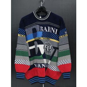 バーニヴァーノ 丸首セーター 紺 BAW-ESW1823-69 BARNI VARNO 3Lサイズ|wanwan