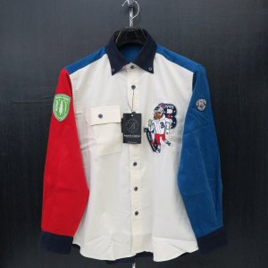 バーニヴァーノ 細コールボタンダウンシャツ オフシロ Lサイズ BAW-GSN2616-02 BARNI VARNO wanwan