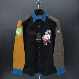 バーニヴァーノ 細コールボタンダウンシャツ 黒 Lサイズ BAW-GSN2616-09 BARNI VARNO wanwan