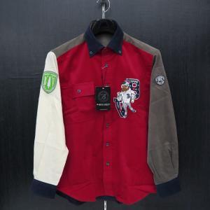 バーニヴァーノ 細コールボタンダウンシャツ 赤 Lサイズ BAW-GSN2616-45 BARNI VARNO wanwan