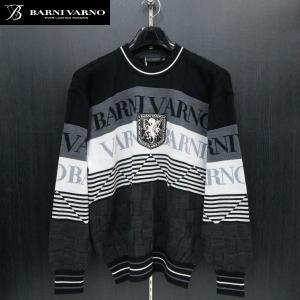 バーニヴァーノ 丸首セーター 黒 LLサイズ BAW-GSW2646-09 BARNI VARNO wanwan