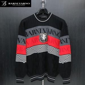 バーニヴァーノ 丸首セーター 黒/赤 Lサイズ BAW-GSW2646-45 BARNI VARNO wanwan