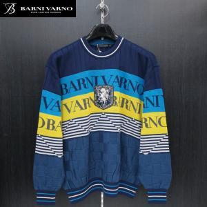 バーニヴァーノ 丸首セーター 紺/青/イエロー M-Lサイズ BAW-GSW2646-69 BARNI VARNO wanwan