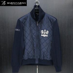 バーニヴァーノ キルティングニットブルゾン 紺 M-Lサイズ BAW-GSW2652-69 BARNI VARNO wanwan