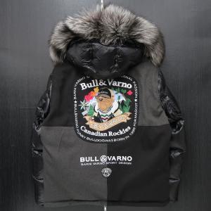 バーニヴァーノ ダウンジャケット Lサイズ 黒 毛皮 BAW-HDB3002-09 BARNI VARNO 新作|wanwan
