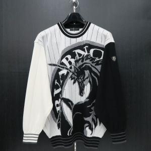 バーニヴァーノ 長袖丸首セーター 白黒 LLサイズ BAW-HSW3013-01 BARNI VARNO|wanwan