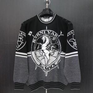 バーニヴァーノ 長袖丸首セーター 黒 Lサイズ BAW-HSW3014-09 BARNI VARNO|wanwan