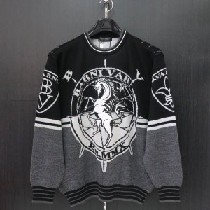 バーニヴァーノ 長袖丸首セーター 黒 LLサイズ BAW-HSW3014-09 BARNI VARNO|wanwan