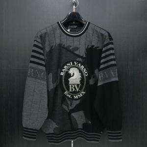バーニヴァーノ 長袖丸首セーター 黒グレー LLサイズ BAW-HSW3015-09 BARNI VARNO|wanwan
