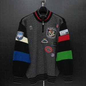 バーニヴァーノ ブルドッグハーフジップセーター グレー黒 Lサイズ BAW-HSW3025-09 BARNI VARNO|wanwan
