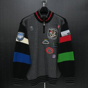 バーニヴァーノ ブルドッグハーフジップセーター グレー黒 LLサイズ BAW-HSW3025-09 BARNI VARNO|wanwan