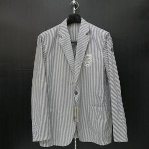 バーニヴァーノ 綿麻カジュアルジャケット 白紺 LLサイズ BSS-HBR2871-63 BARNI VARNO|wanwan