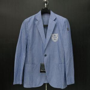 バーニヴァーノ 綿麻カジュアルジャケット 白青 M/Lサイズ BSS-HBR2871-65 BARNI VARNO|wanwan