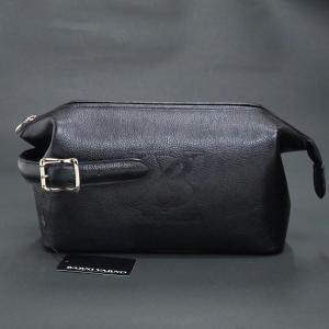 バーニヴァーノ VBロゴ型押し牛革セカンドバッグ 黒 BSS-HGB2895-09 BARNI VARNO クラッチバッグ|wanwan