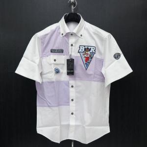 バーニヴァーノ 半袖ボタンダウンシャツ 白/紫 Lサイズ BSS-HSH2859-52 BARNI VARNO|wanwan