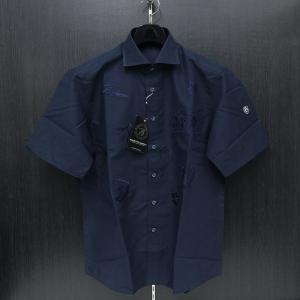 バーニヴァーノ 半袖シャツ 紺 LLサイズ BSS-HSH2861-69 BARNI VARNO 綿麻|wanwan
