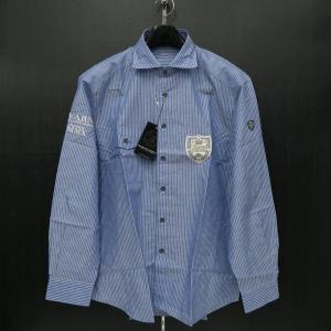 バーニヴァーノ 綿麻長袖シャツ ブルー LLサイズ BSS-HSN2860-65 BARNI VARNO|wanwan