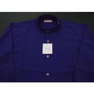丸恵 スタンドカラーシャツ C6021-11 青紫|wanwan