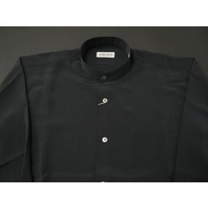 丸恵 スタンドカラーシャツ C6021-2 黒|wanwan