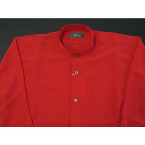 丸恵 スタンドカラーシャツ C6021-7 赤|wanwan