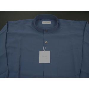 丸恵 スタンドカラーシャツ C6021-8 うす紺|wanwan