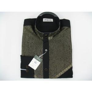 丸恵 ドレスシャツ 黒/ゴールド N2078-3|wanwan