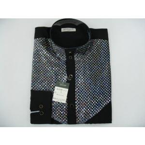 丸恵 ドレスシャツ 黒/シルバー N2096-2|wanwan