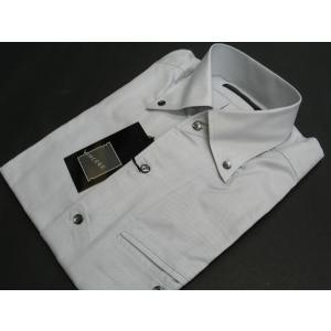 VINCERE 長袖ボタンダウンシャツ グレーL V6-2136-2-48|wanwan