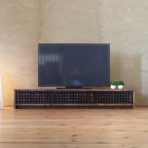TVボード古都3枚引戸Lタイプ 焦茶色/テレビ台/テレビボード/TV台/無垢材/和モダン