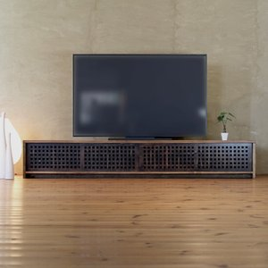 TVボード古都4枚引戸Hタイプ 焦茶色/テレビ台/テレビボード/TV台/ワイド/和モダン