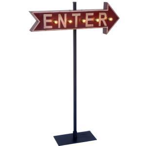 アローサイン・ウィズライト/矢印立て看板(電球付き) ENTER エンター(入口) *メール便不可|wappenstore