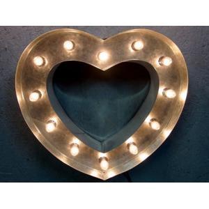 ブリキ立体看板(電球付き) ハートマーク Heart(全5色) アメリカンサイン・ウィズライト *メール便不可|wappenstore