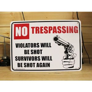 看板/プラサインボード 撃たれますよ No Trespassing CA-03 *メール便不可|wappenstore