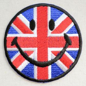 ワッペン スマイルマーク/スマイリーフェイス(イギリス国旗/ユニオンジャック)|wappenstore