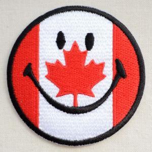 ワッペン スマイルマーク/スマイリーフェイス(カナダ国旗)|wappenstore