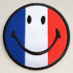 ワッペンスマイルマーク/スマイリーフェイス(フランス国旗/トリコロール)|wappenstore