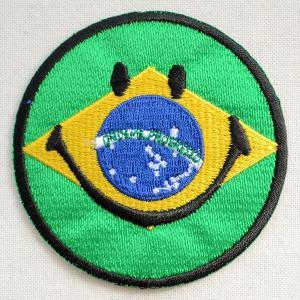 ワッペン スマイルマーク/スマイリーフェイス(ブラジル国旗)|wappenstore