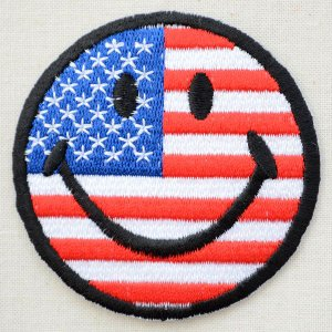 ワッペン スマイルマーク/スマイリーフェイス(アメリカ国旗/6.8cm)|wappenstore