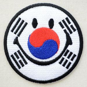 ワッペン スマイルマーク/スマイリーフェイス(韓国国旗/太極旗)|wappenstore