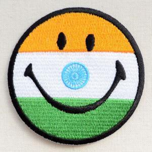 ワッペン スマイルマーク/スマイリーフェイス(インド国旗) wappenstore