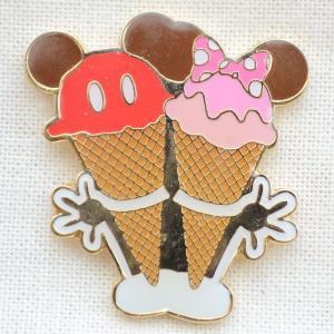 ピンバッジ ディズニー スウィーツシリーズ(ミッキー&ミニー/アイスクリーム) DYPIN-04|wappenstore