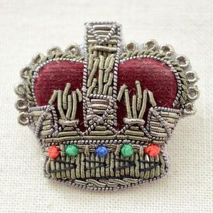 プレミアムエンブレムブローチ クラウン(王冠/カーキ)|wappenstore