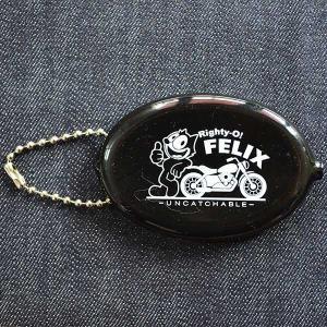 ラバーコインケース フィリックスザキャット Felix The Cat(ブラック/Righty-o) 小銭入れ キーホルダー アメリカ製 FFO-002A|wappenstore