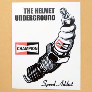 ガレージステッカー/シール チャンピオン Champion(ホワイト/レクタングル) GS-005 wappenstore
