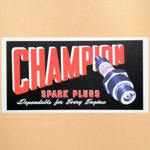 ガレージステッカー/シール チャンピオン Champion(ブラック/レクタングル) GS-026 wappenstore