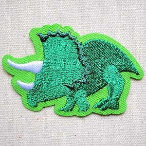ワッペン トリケラトプス 恐竜シルエット 名前 作り方 HE322-HE27|wappenstore