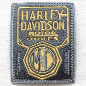 レザーロゴワッペン Harley-Davidson ハーレーダビッドソン(MCV2/レクタングル) wappenstore