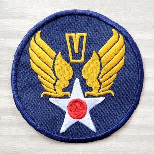 ミリタリーワッペン U.S.Air Force エアフォース V (ブルー/ラウンド) 名前 作り方 LFW-008|wappenstore
